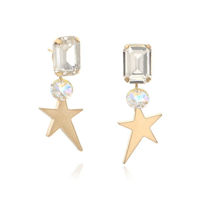 Square Clear Starburst Drop Earring