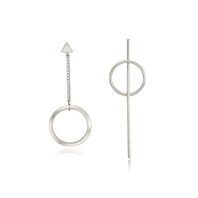 Unbalance Silver Long Earring